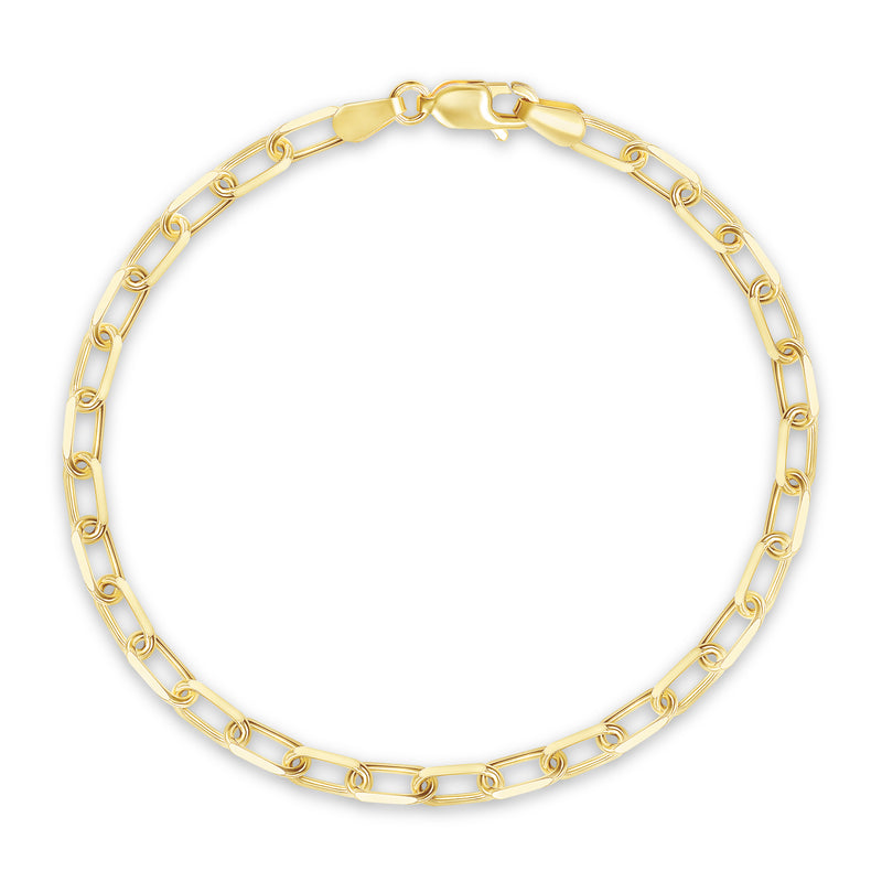 Dainty Paper Clip Link Bracelet in Solid 14k Yellow Gold