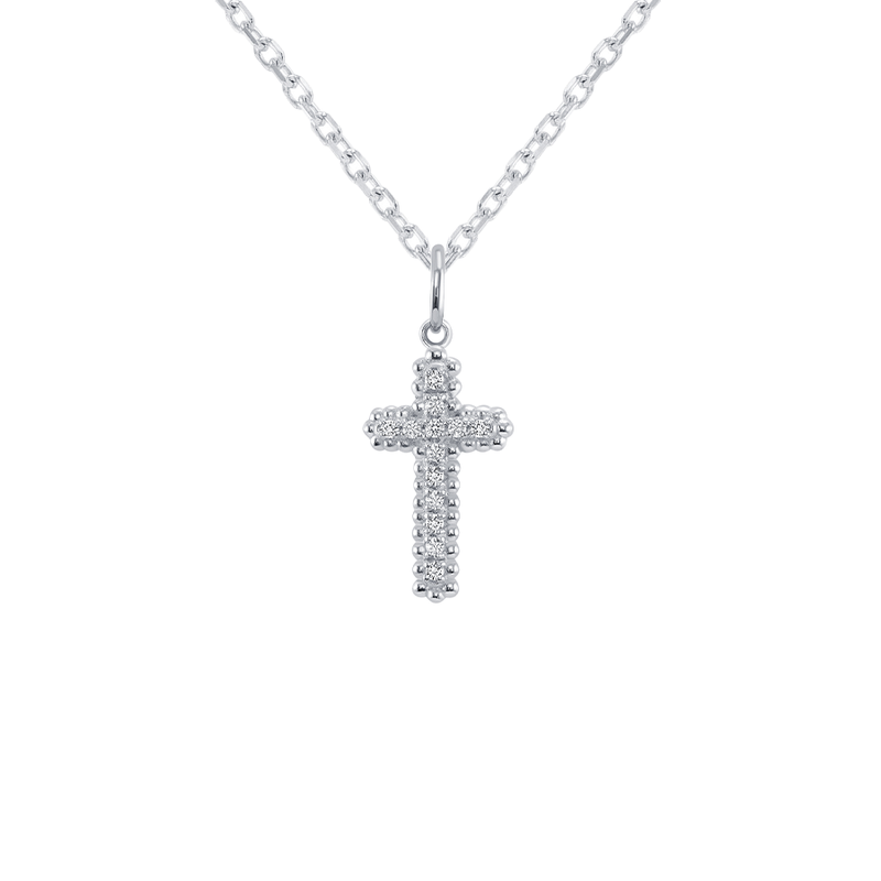 Large Diamond Cross Pendant/Necklace in Sterling Silver