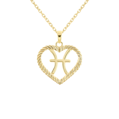 Pisces Zodiac Pendant/Necklace in Solid Gold