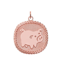Chinese Zodiac Pig Reversible Zodiac Charm Pendant Necklace in Solid Gold