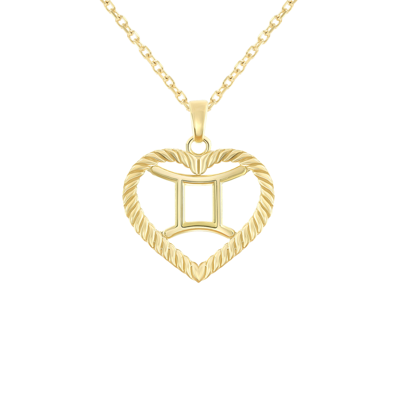 Gemini Zodiac Pendant/Necklace in Solid Gold