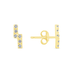 Lightning Bolt Cubic Zirconia Stud Earring In Solid Gold
