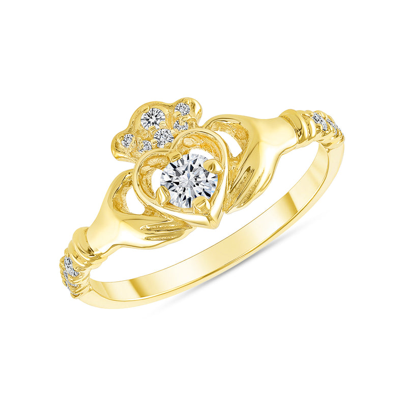 Diamond Claddagh Ring In Solid Gold