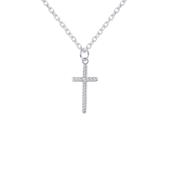 Dainty Rope Cross in Sterling Silver