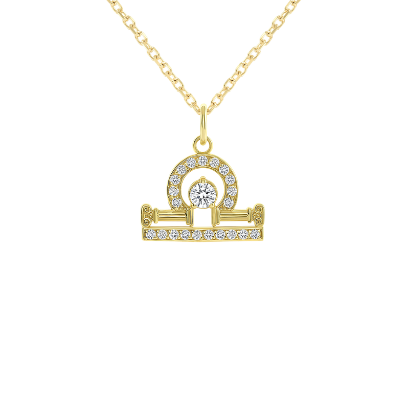 Libra Zodiac Cubic Zirconia Pendant/Necklace in Solid Gold