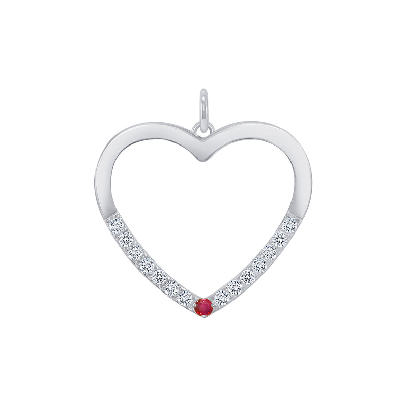Heart Shaped Cubic Zirconia Pendant/Necklace In Sterling Silver