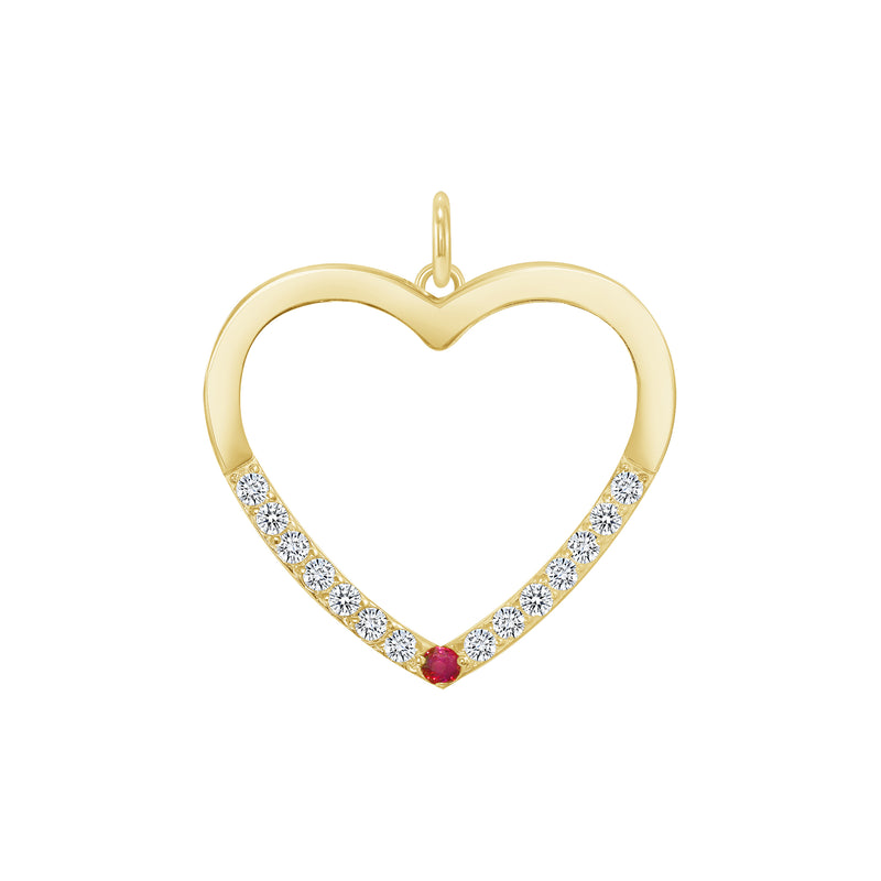 Heart Shaped Cubic Zirconia Pendant/Necklace In Solid Gold