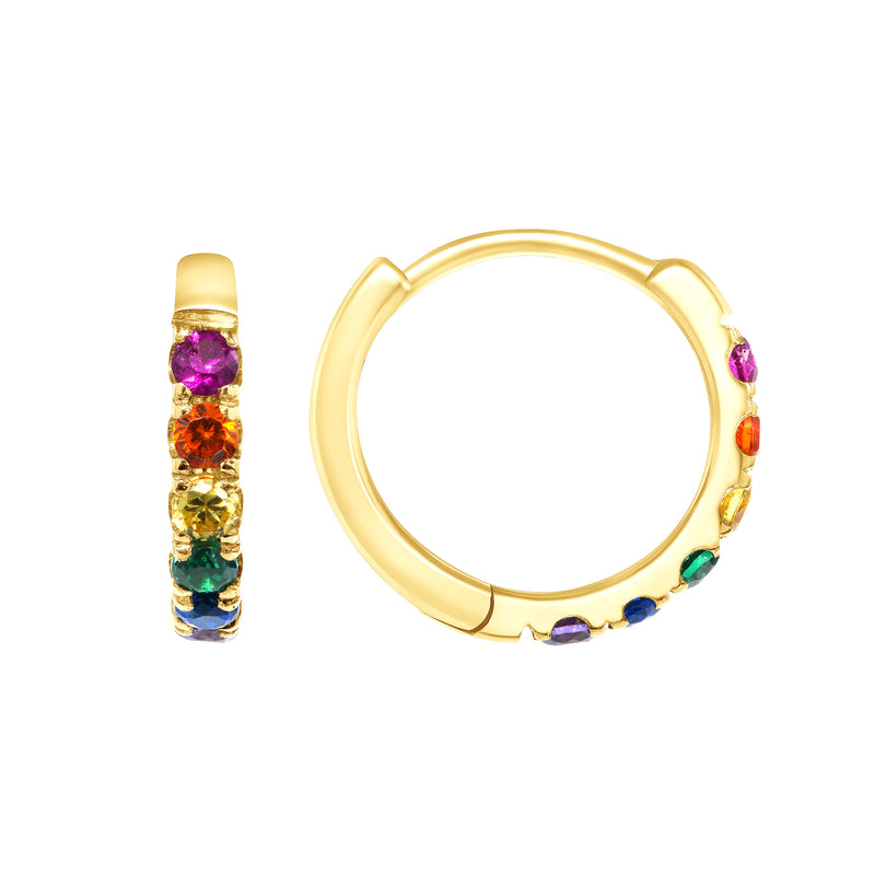 Dainty Mini Rainbow Colorful Hoop Huggie Earrings In Solid Gold
