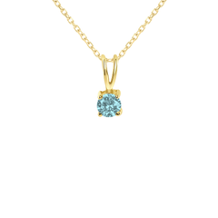 Dainty Aquamarine Gemstone Rabbit Ear Pendant Necklace
