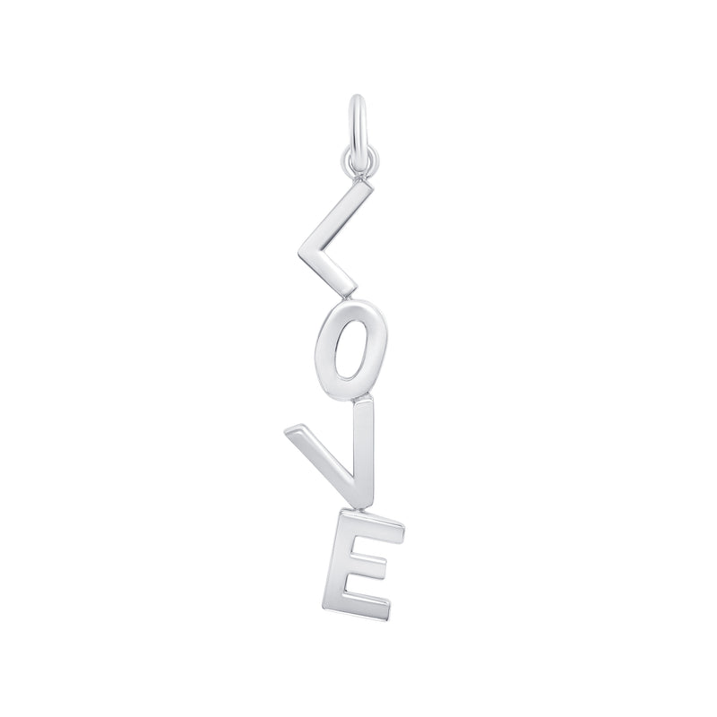 'LOVE' Vertical Pendant/Necklace In Sterling Silver