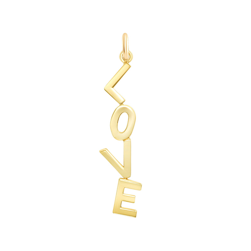 'LOVE' Vertical Pendant\Necklace In Solid Gold