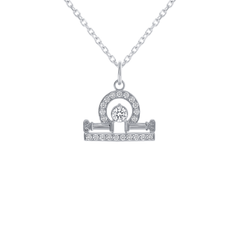 Libra Zodiac Cubic Zirconia Pendant/Necklace in Sterling Silver