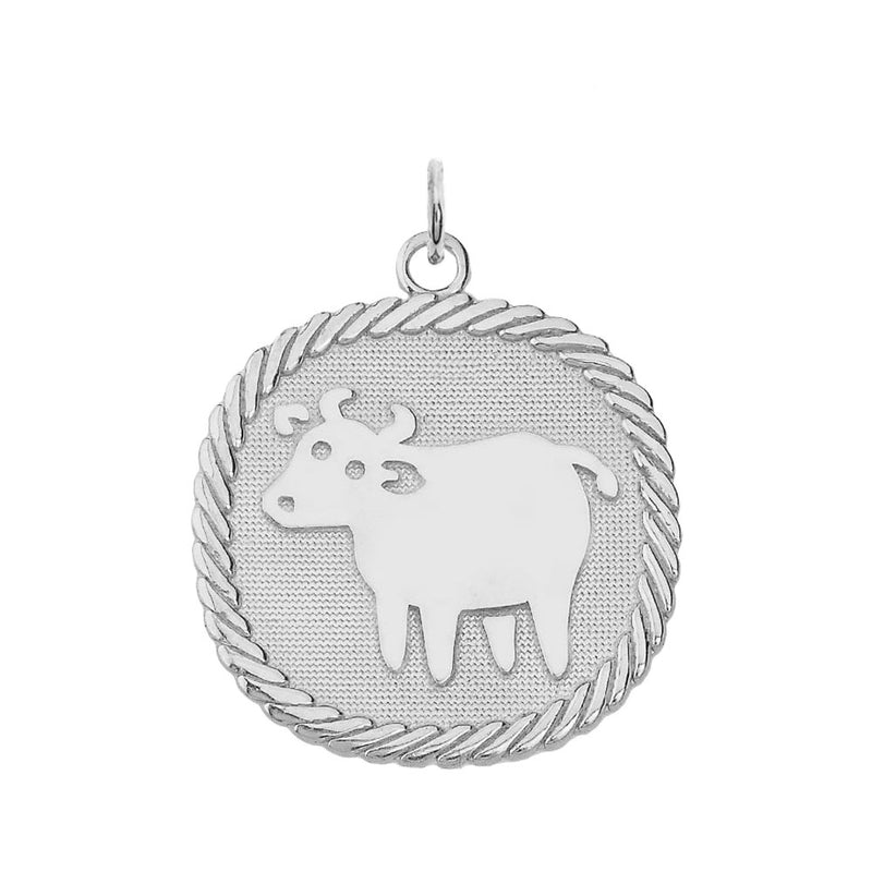 Chinese Zodiac Ox Reversible Zodiac Charm Pendant Necklace in Sterling Silver