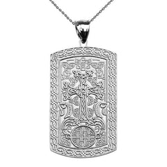 Armenian Khatchkar Dog Tag Pendant Necklace in Sterling Silver