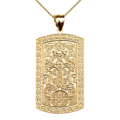 Armenian Khatchkar Dog Tag Pendant Necklace in Yellow Gold (10k/14k)