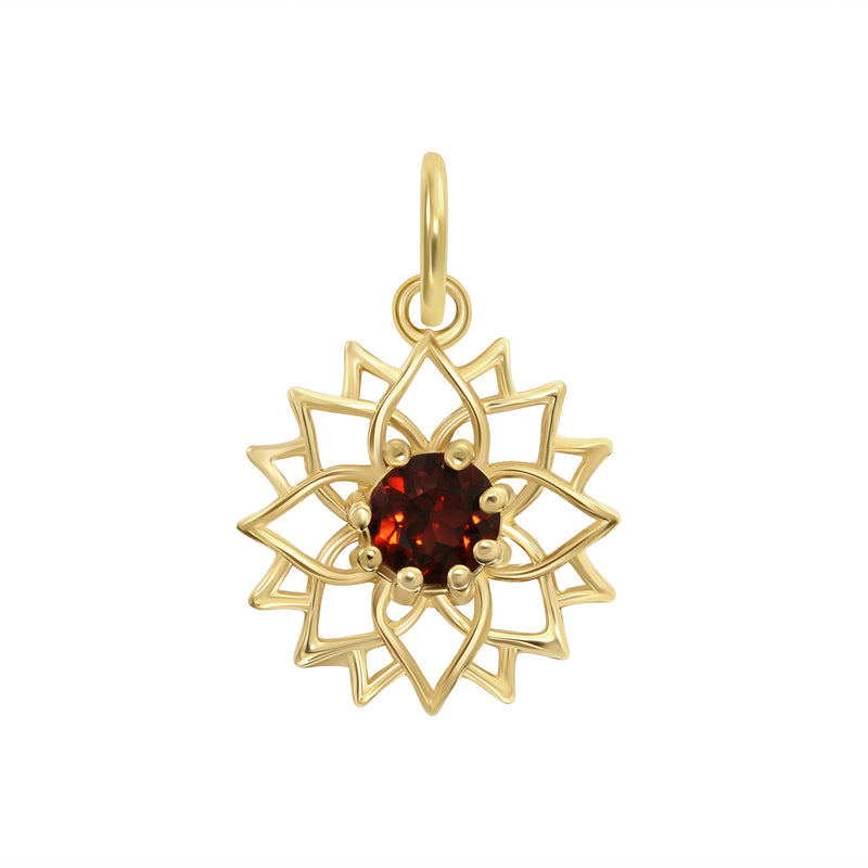 Genuine Gemstone Open Work Dainty Flower Pendant/Necklace In Solid Gold