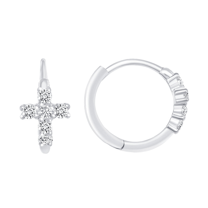 Diamond Cross Hoop Huggie Earrings In Solid Gold