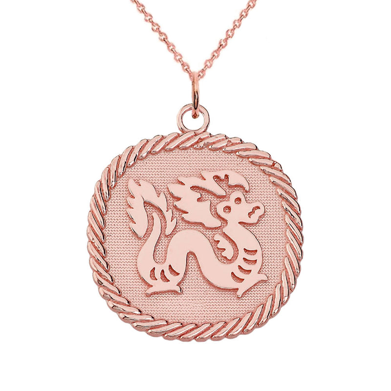 Chinese Zodiac Dragon Reversible Zodiac Charm Pendant Necklace in Solid Gold