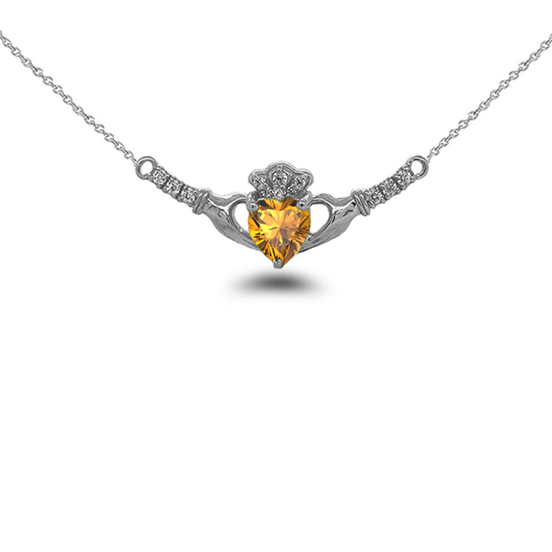 Claddagh Diamond & Genuine Citrine Heart Necklace in Solid Gold