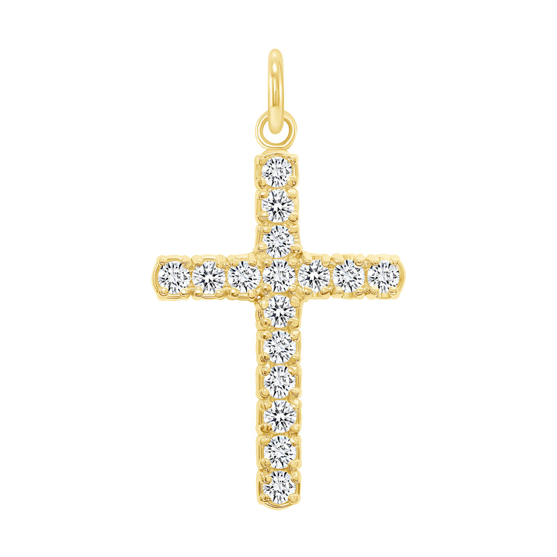 14k gold diamond cross pendant