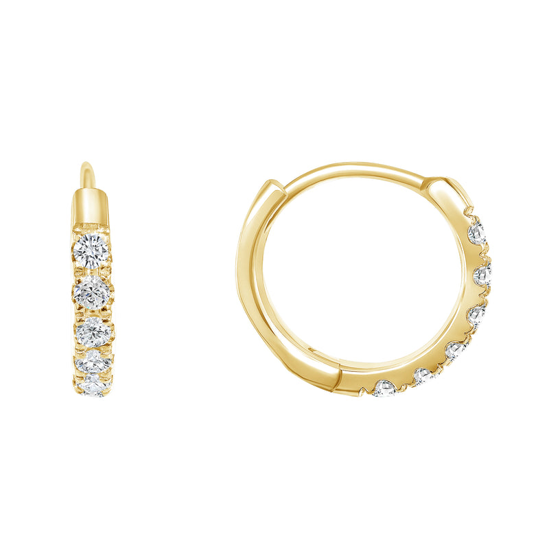 Diamond Hoop Huggie Earrings In Solid Gold
