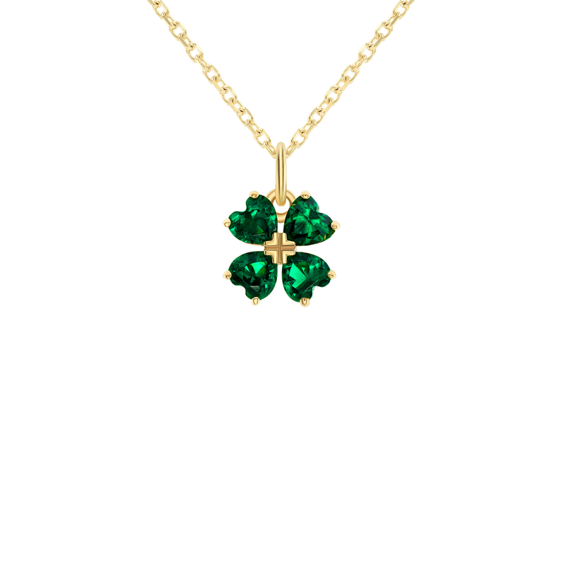 Lucky Four Leaf Clover Pendant in Solid Gold
