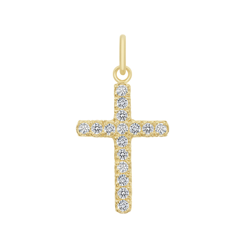 Cubic Zirconia Medium Cross Pendant/Necklace In Solid Gold