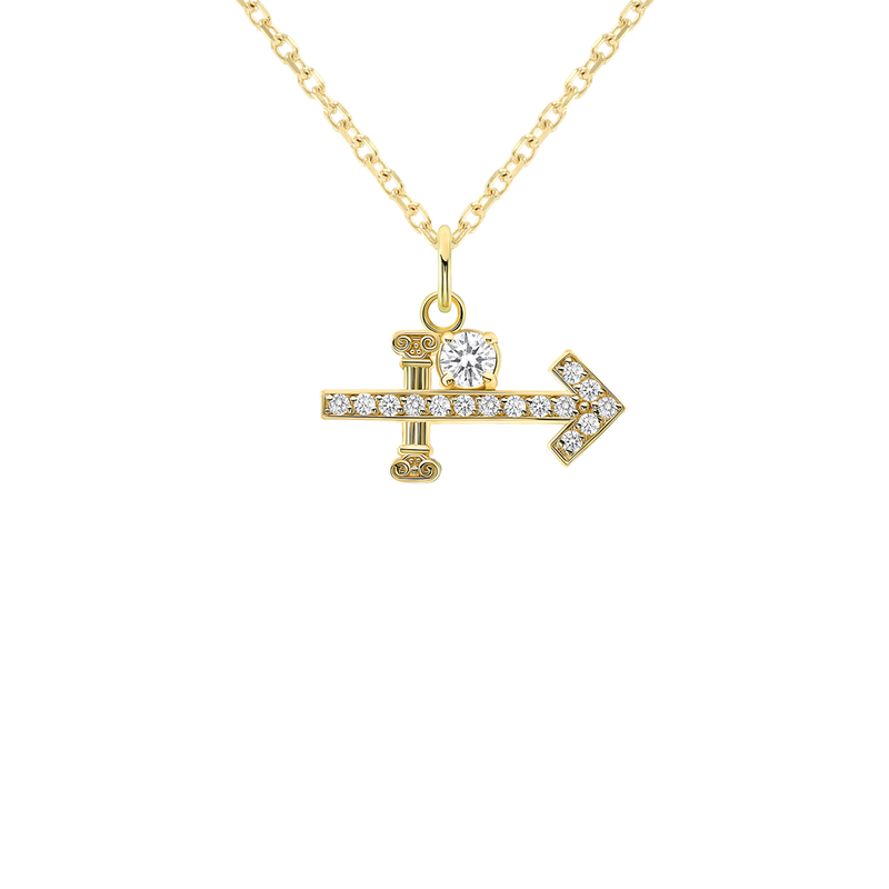 Sagittarius Zodiac Cubic Zirconia Pendant/Necklace in Solid Gold