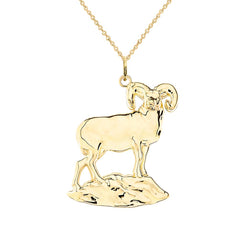 Aries Animal Zodiac Ram Pendant/Necklace in Solid Gold