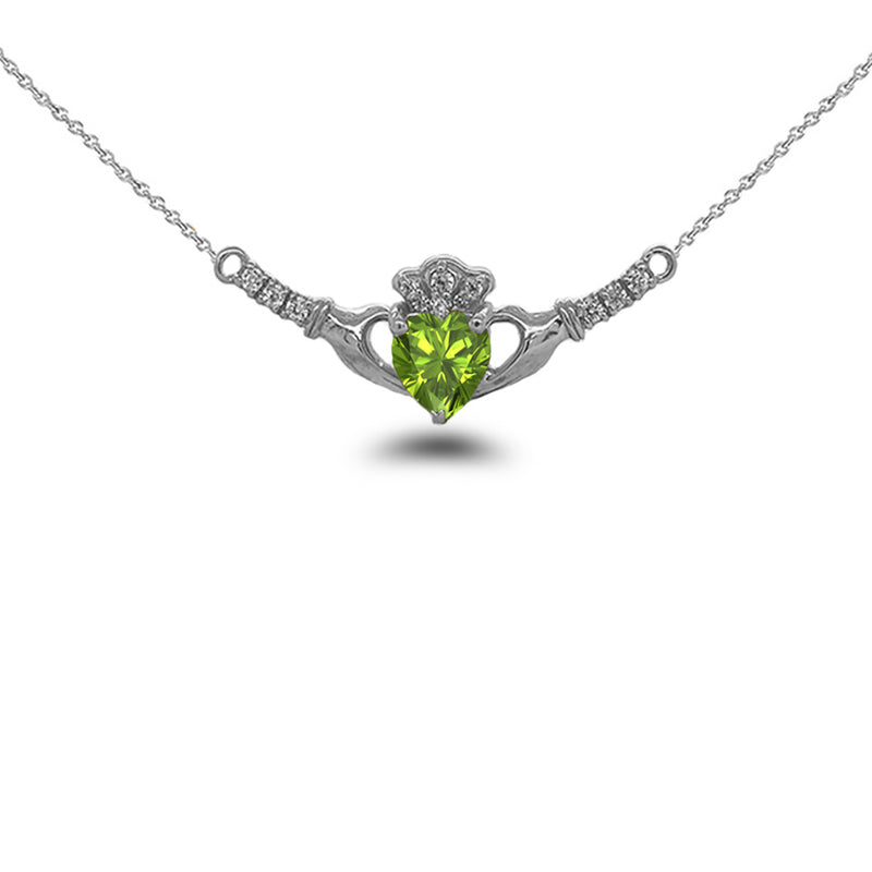 Claddagh Diamond & Genuine Peridot Heart Necklace in Solid Sterling Silver