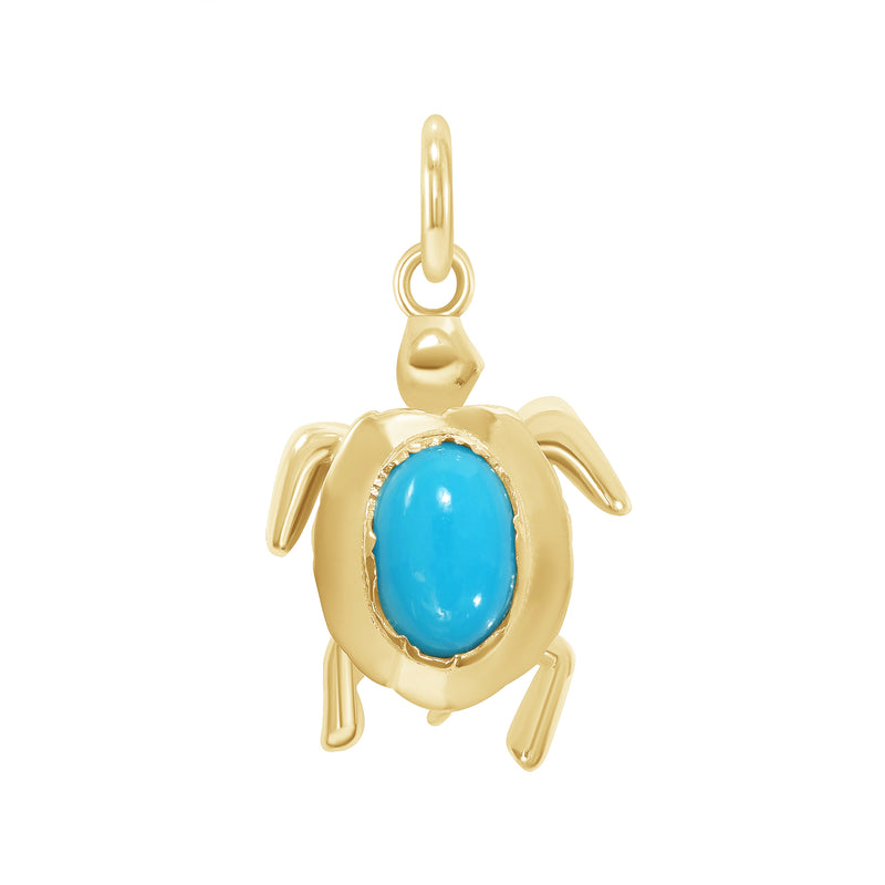 Dainty Turquoise Turtle Pendant/Necklace In Solid Gold