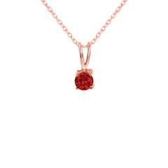 Dainty Ruby Gemstone Rabbit Ear Pendant Necklace