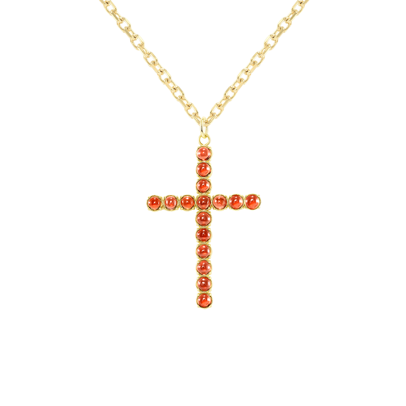 Genuine Cabochon Garnet Statement Cross Pendant Necklace in Solid Gold
