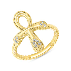 Ankh Cross Diamond Ring In Solid Gold