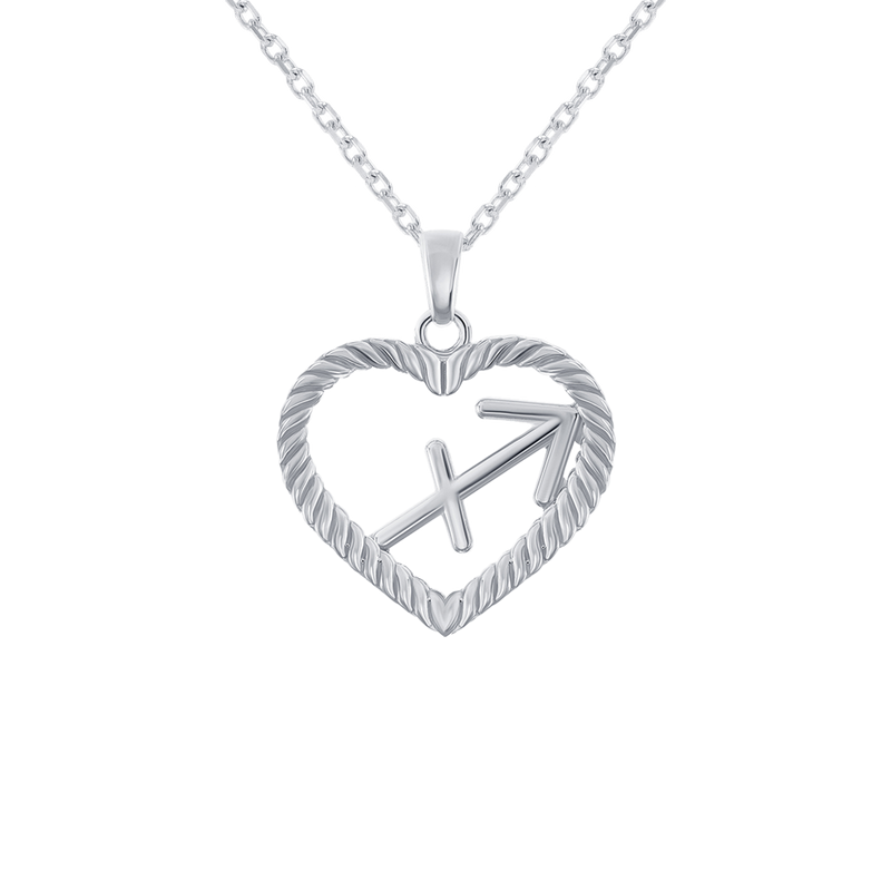 Sagittarius Zodiac Pendant/Necklace in Sterling Silver