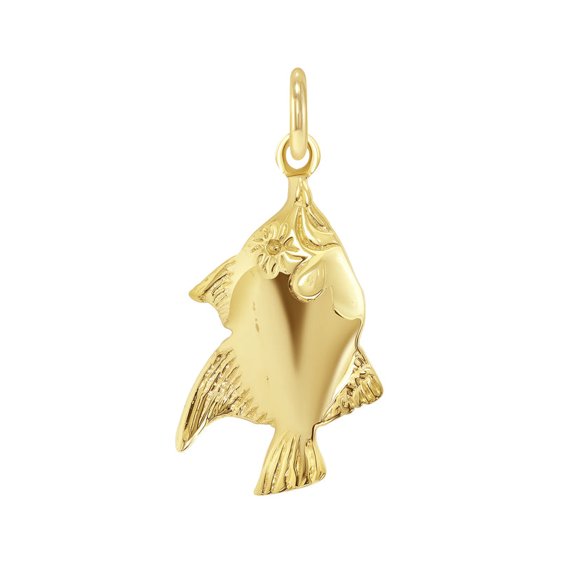 Genuine Fish Pendant/Necklace In Solid Gold