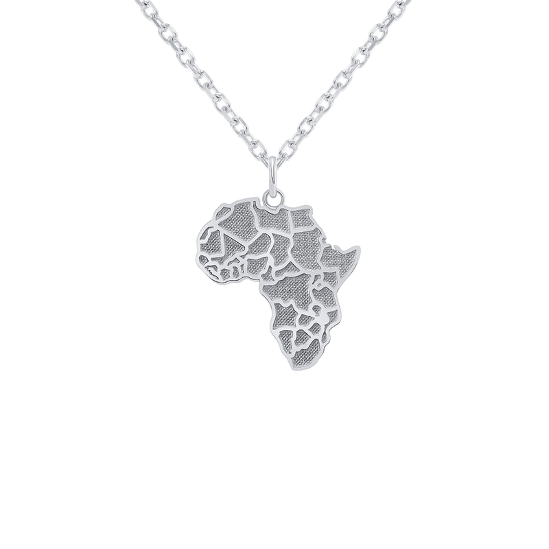 Africa Continent  Map LG Pendant/Necklace in Sterling Silver