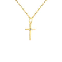 Dainty Unisex Small Diamond Cross in Solid Gold