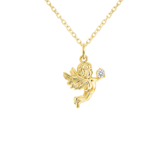 Angel Cubic Zirconia Pendant/Necklace in Solid Gold