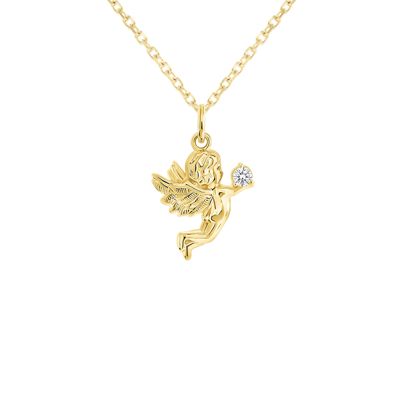Angel Diamond Pendant/Necklace in Solid Gold