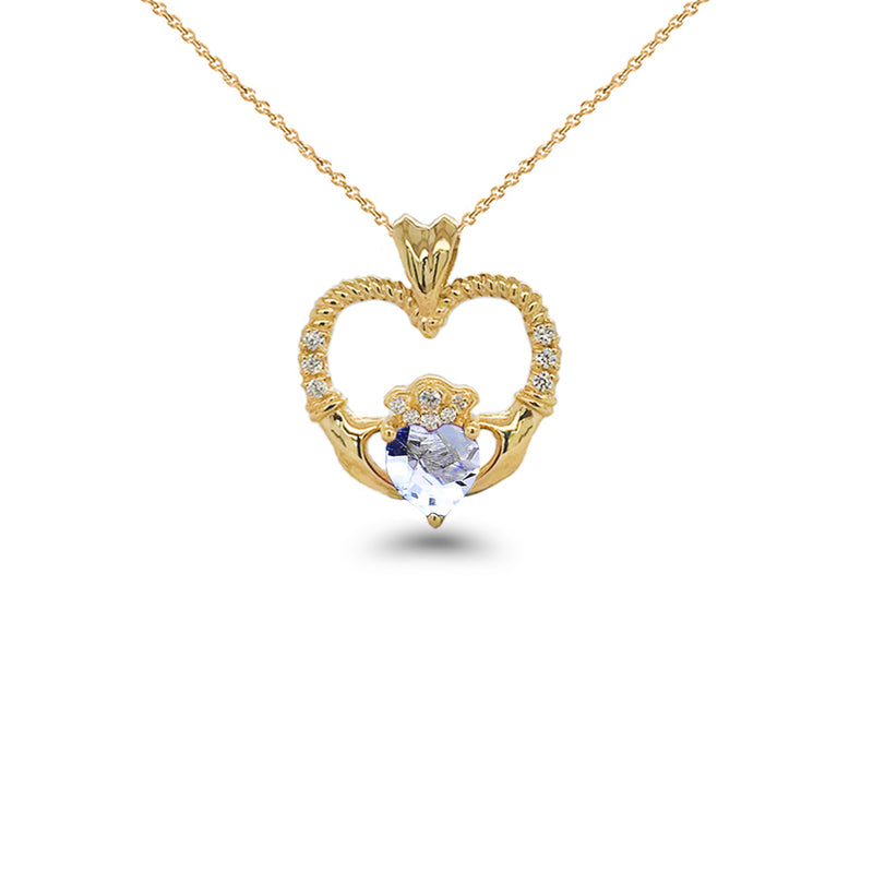 Claddagh Heart Diamond & Genuine Aquamarine Rope Pendant/Necklace in Solid Gold