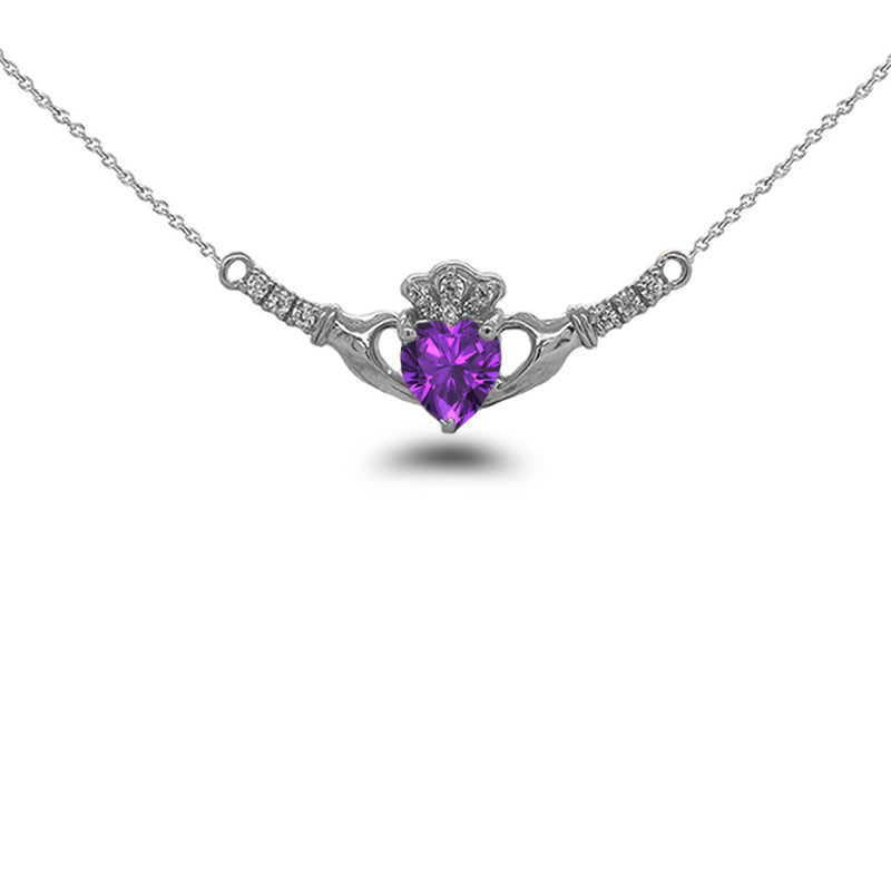 Claddagh Diamond & Genuine Amethyst Heart Necklace in Solid Gold