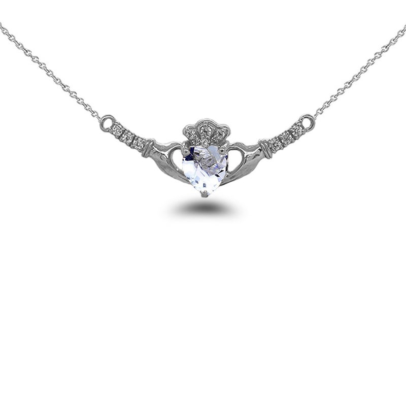 Claddagh Diamond & Genuine Aquamarine Heart Necklace in Solid Sterling Silver