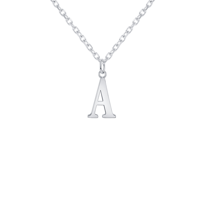 "Customizable Initial ""A"" Pendant Necklace in Sterling Silver"