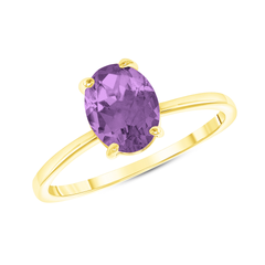 Oval Solitaire Lab Created Alexandrite Gemstone Birthstone Ring in Yellow Gold
