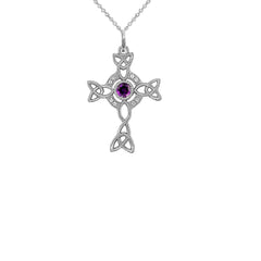 Diamond Irish Celtic Cross with Genuine Amethyst Pendant Necklace in Sterling Silver