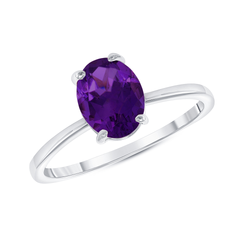 Oval Solitaire Genuine Amethyst Gemstone Birthstone Ring in White Gold