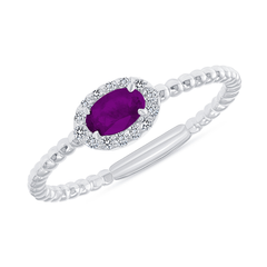 Diamond and Genuine Amethyst Gemstone Birthstone Ring in White Gold