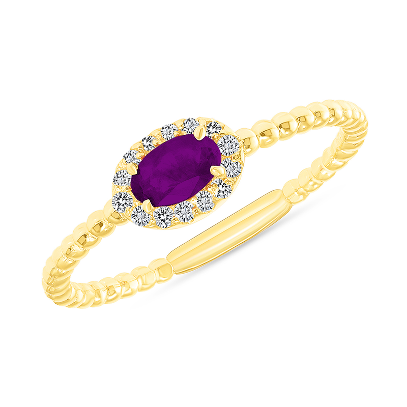 Diamond and Genuine Amethyst Gemstone Birthstone Ring in Yellow Gold