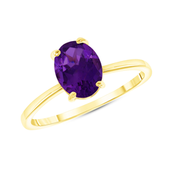 Oval Solitaire Genuine Amethyst Gemstone Birthstone Ring in Yellow Gold